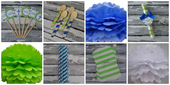 Blue and Green Party Supplies From One Stylish Party