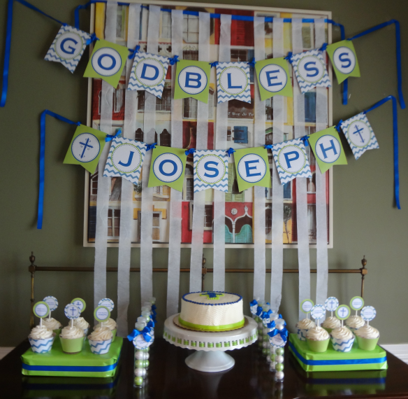 Blue Chevron and Lime Green First Communion Dessert Table
