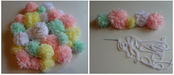 how to make yarn pom poms with your hand