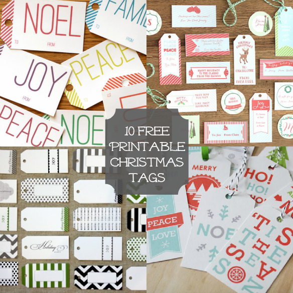 10 Free Printable Christmas Tags via One Stylish Party