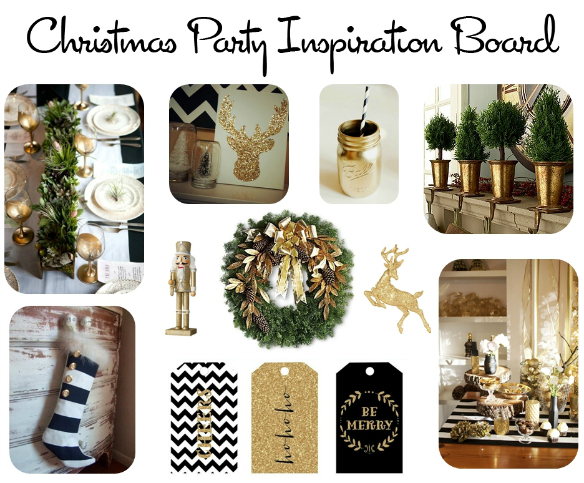 Black Gold and Evergreen Christmas Party Inspiration