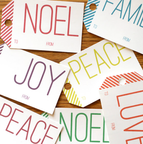 Free Printable Holiday Gift Tags by Lemon Squeezy via One Stylish Party