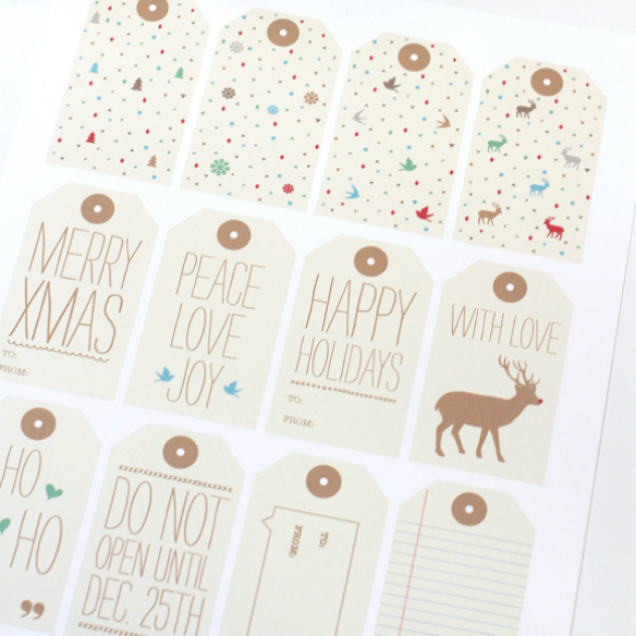 Free Printable Holiday Gift Tags by Love vs Design via One Stylish Party