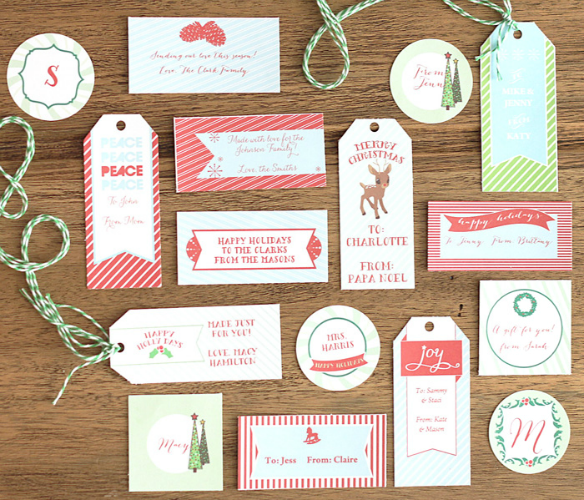 Free Printable Holiday Gift Tags by Paper and Pigtails for DIY Network via One Stylish Party