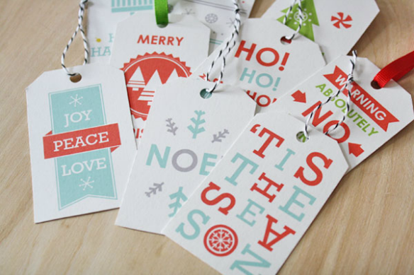 Free Printable Holiday Gift Tags by Sass and Peril via One Stylish Party