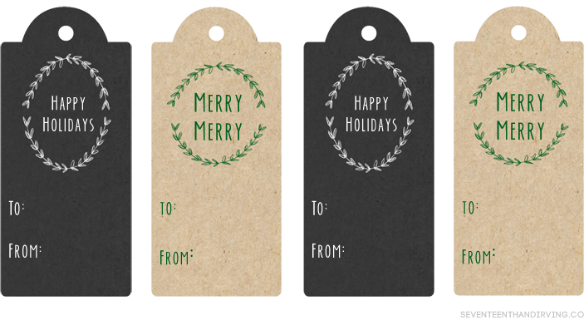 Free Printable Holiday Gift Tags by Seventeenth and Irving via One Stylish Party