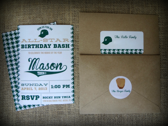 Green, burlap and ivory vintage baseball party