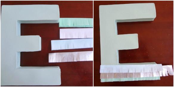 tissue fringe letter tutorial 3